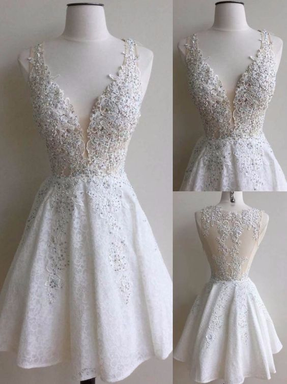 lace short white v-neck A-line homecoming dress