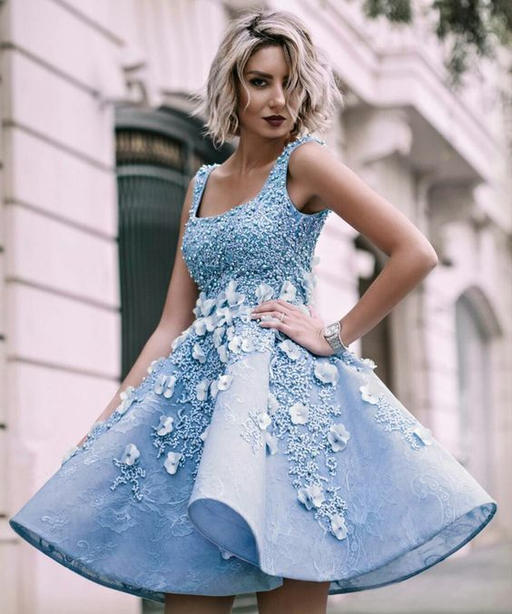 Sky Blue Beaded Appliques Handmade Flowers Stunning Homecoming Dresses