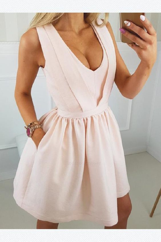 A-Line Homecoming Dress, Party Dresses Pink, V Neck Homecoming Dress