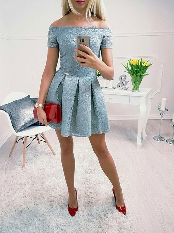 Dusty Blue Off Shoulder Lace Homecoming Dresses