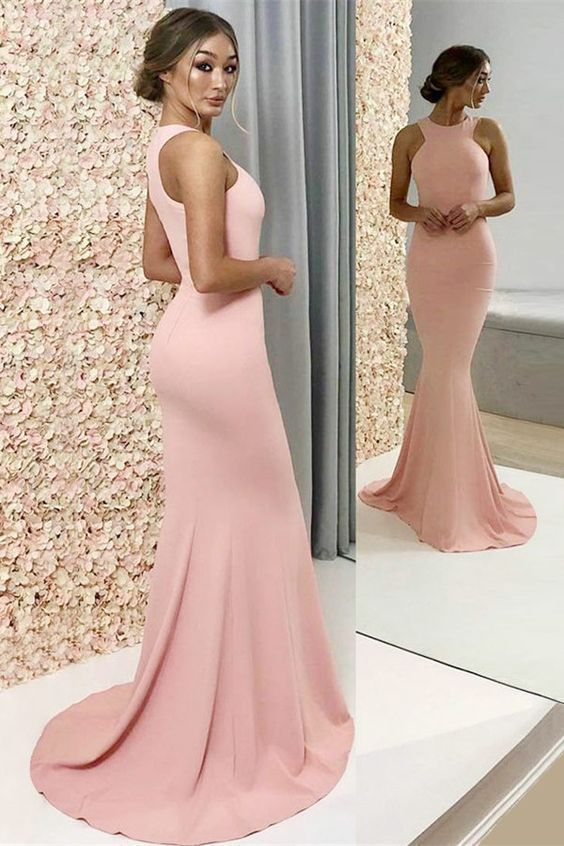 Elegant Mermaid Round Neck Elastic Satin Pink Long Bridesmaid Dresses