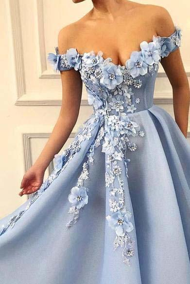 A Line Off the Shoulder Prom Dress with Flowers, Long Party Dress with Appliques