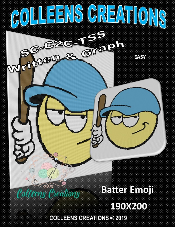 Batter Emoji Crochet Written and Graph Design