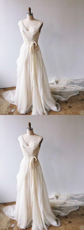 Lvory V neck Chiffon Graduation Dress Evening Dress  Long Prom Dress G2248