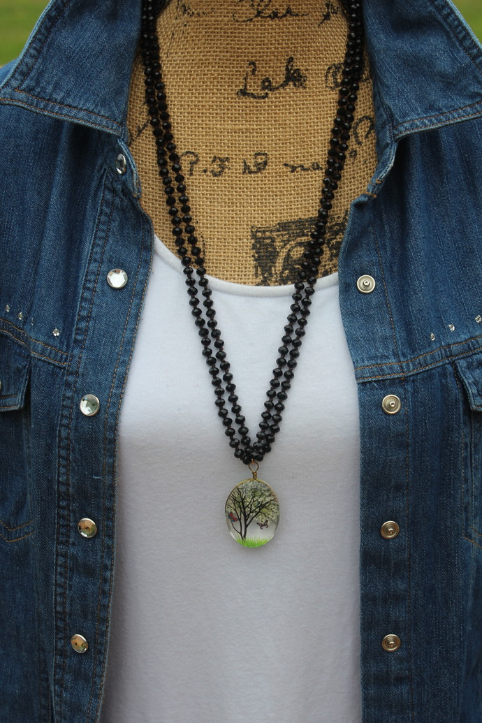 Long Beaded Double Wrap Necklace with Pendant Boho Glam by KnottedUp