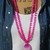 Hot Pink Summer Double Wrap Beaded Necklace with Pendant Gypsy Heart Jewelry by