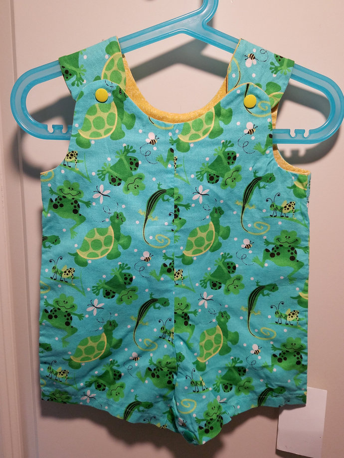 Short Overalls for Infants and Toddlers choice of two colors Lizard, turtle and