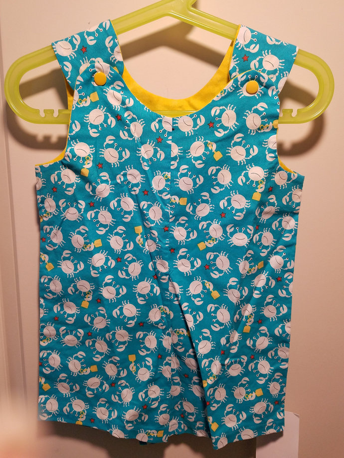 Short Overalls for Infants and Toddlers in Crab fabric prints newborn, 3m, 6m,