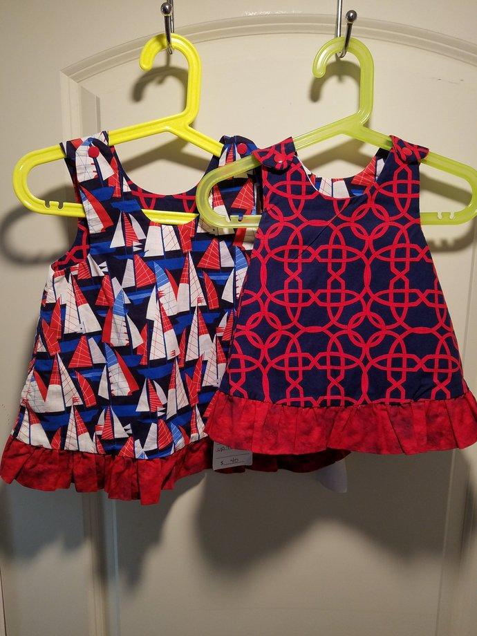 Reversible Dress, jumper, sundress, pinafore sizes newborn to girls 6 in Navy
