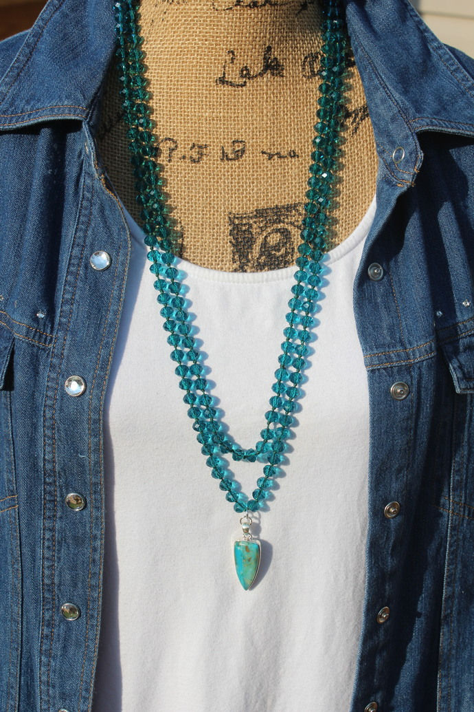 Teal Blue Summer Double Wrap Beaded Necklace with Pendant Gypsy Heart Jewelry by
