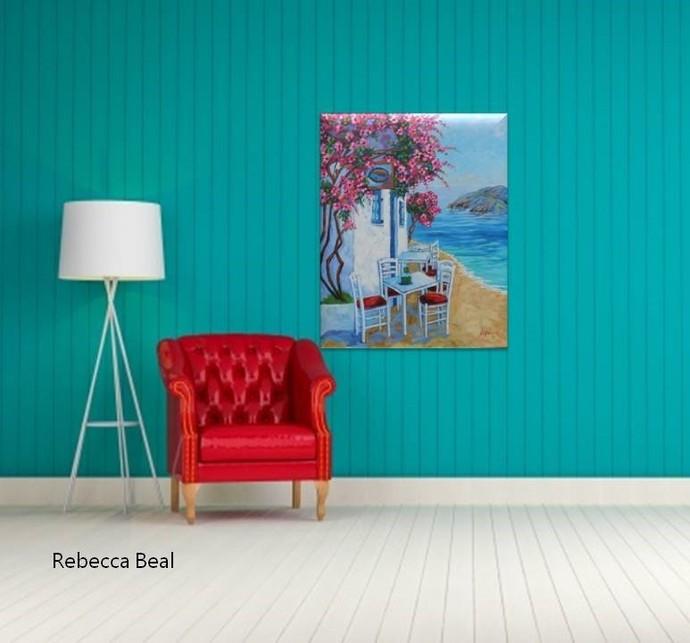 Original Oil of Santorini Greek Summer 24 x 30 Paradise Oil Painting on Canvas