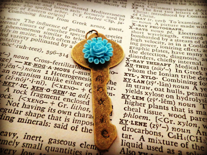 Antique Brass MOXIE Key Necklace With Blue Flower ~Comes on a Ball Chain
