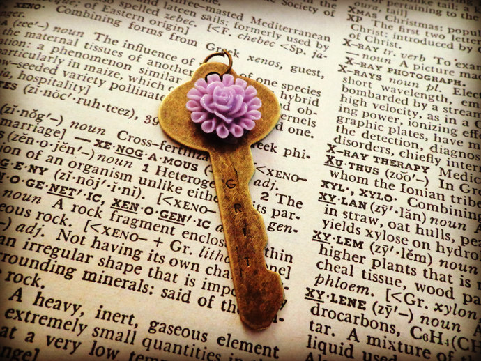 Antique Brass Grit Key Necklace ~ Comes on a Ball Chain
