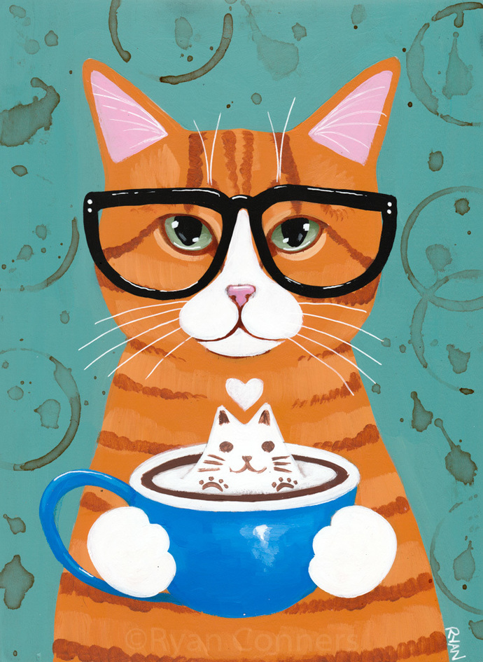 Ginger Kitty With Catpuccino Original Coffee Cat Folk Art Painting