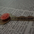 Antique Brass Courage Key with Peach Flower ~ Comes on a Ball Chain