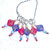 Knitting Stitch Markers, silver color ring with red and navy focal beads and
