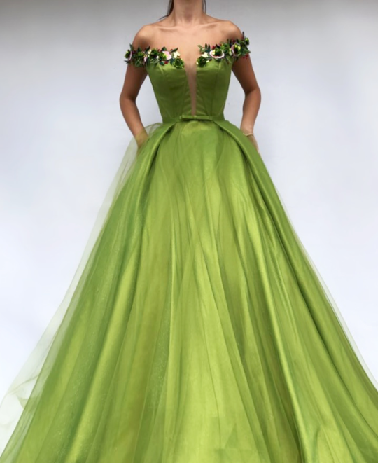 Charming V Neckline,Sexy Off Shoulder ,A Line Prom Dress , Floor Length,Sexy 3D