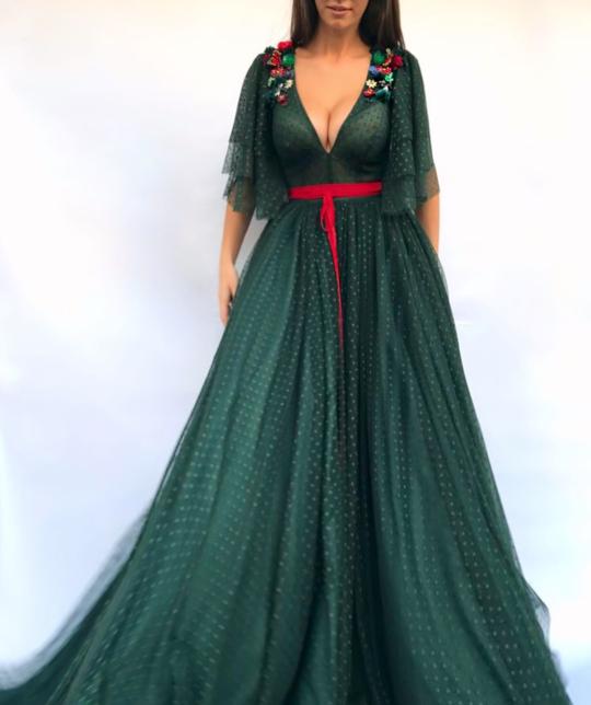High Quality Charming V Neckline,Sexy Half Flare Sleeves ,A Line Prom Dress ,