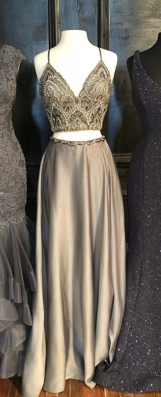 Elegant Beaded Two Piece Prom Dress, V-neck Grey Long Prom Dress, Graduation