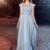 Gorgeous A-line, Ruffled bateau neck dress,Lace applique ,Floor length , Long