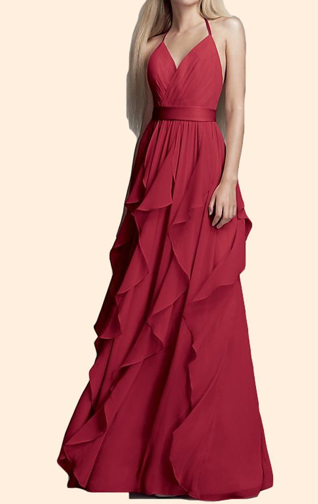 Halter V Neck ,Chiffon Long Bridesmaid Dress ,Simple Prom Gown,Sexy Formal