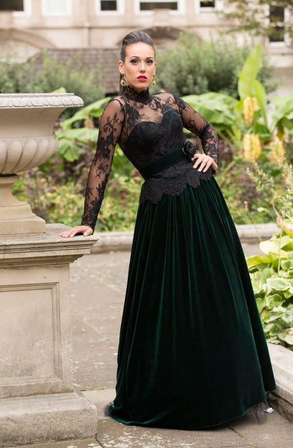 Charming Prom Dress,Lace Evening Dresses,Long-Sleeves Prom Dresses,A-Line Prom