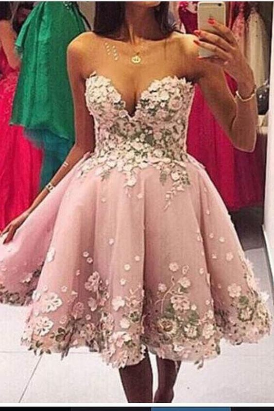 Great Pink Homecoming Dress, A-Line Prom Dress, Appliques Homecoming Dress, Prom