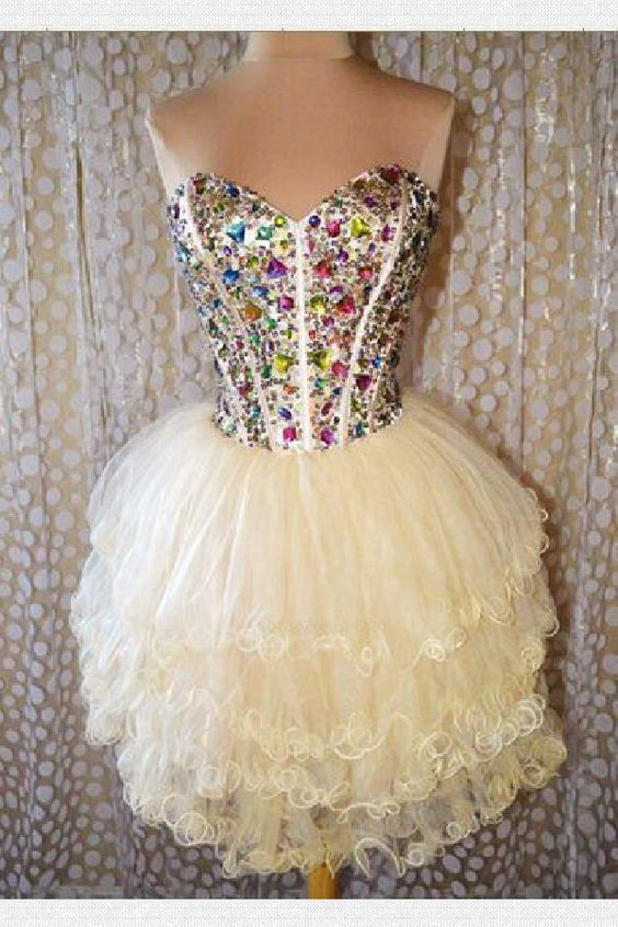 Custom Made Great Champagne Homecoming Dresses, Short Homecoming Dresses