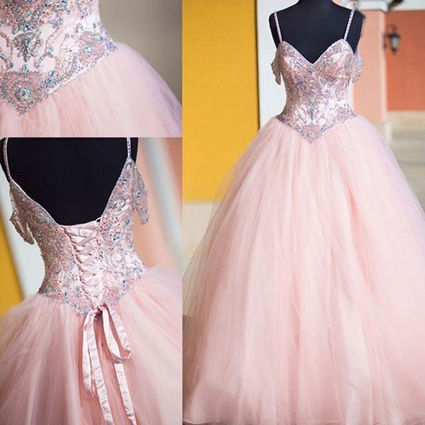 Pink Ball Gown Prom Dress,Long Prom Dresses,Charming Prom Dresses,Evening Dress