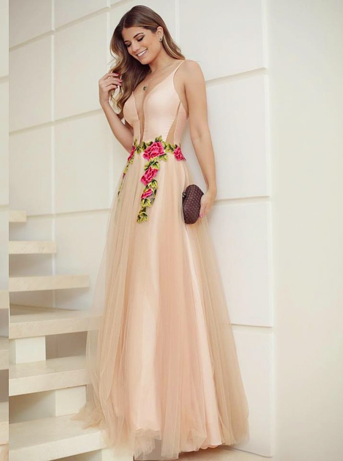 appliques Prom Dress A-Line, Champagne party Dress, evening Dress Long,