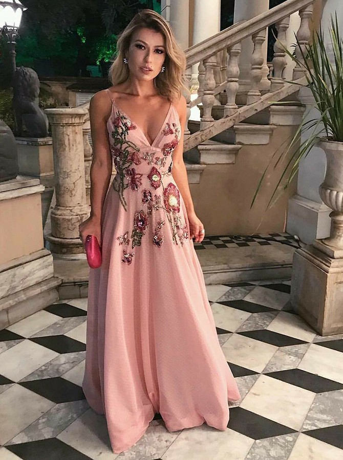 spaghetti Prom Dresses A-Line, party Dresses Pink Prom Dresses Appliques Prom