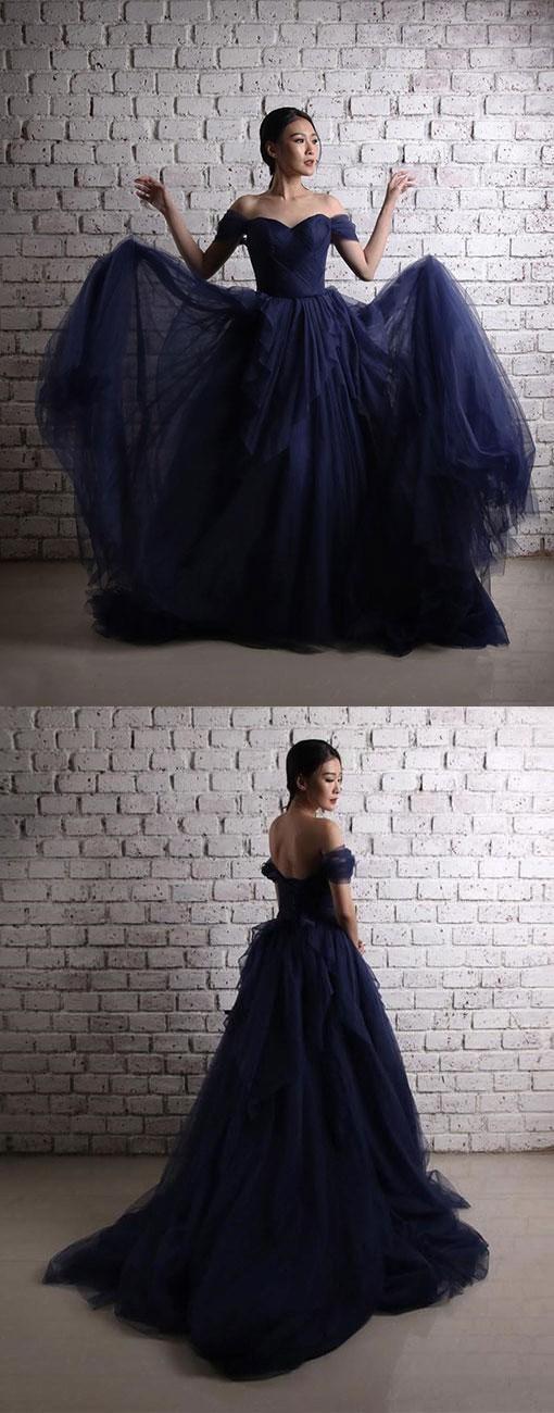 Dark blue prom dress tulle long prom dress, off shoulder evening dress floor