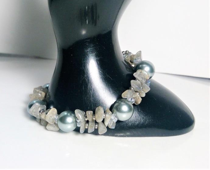 Gemstone Handmade Labradorite Pearl bracelet Free Matching Earrings