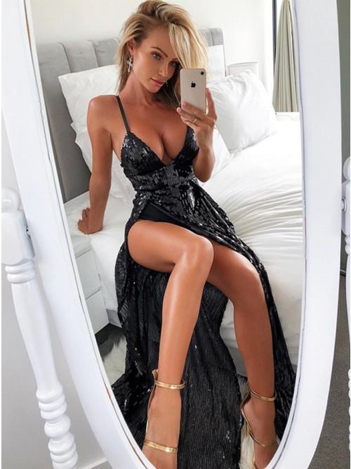 2019 V Neck Black Sequin Maxi Dress T4689