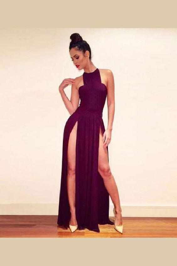 Soft Prom Dress Simple, Prom Dress Chiffon, Prom Dress Long, Burgundy Prom