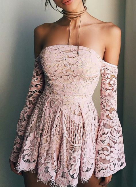 Sweet Pink Lace Off The Shoulder Homecoming Dress,Long Sleeves Mini Homecoming