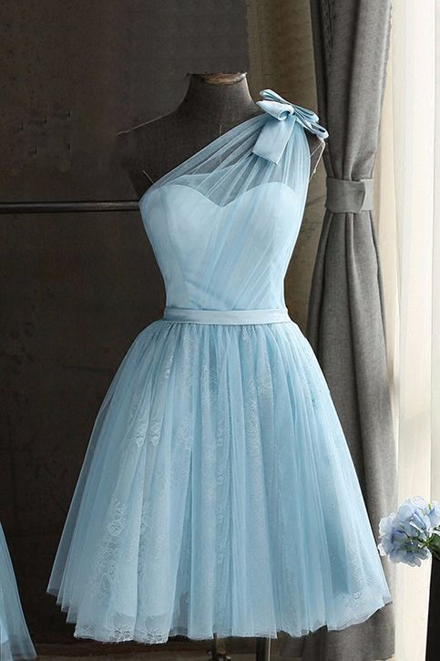 Baby blue tulle one shoulder short prom dress, bowknot party dress