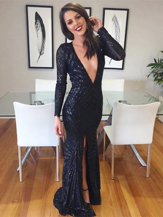 Black Sequin Prom Dress with Long Sleeves evening dress 2019 T4692