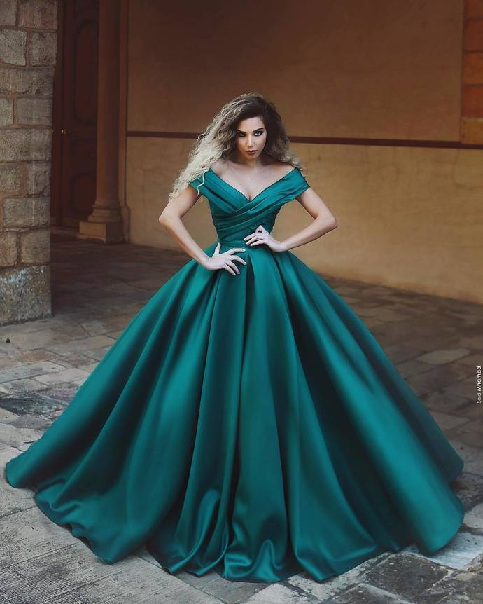 Gorgeous V-neck Off The Shoulder Long Satin Dark Green Prom Dresses Ball Gowns