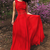 Two Piece Round Neck Red Chiffon Prom Dress with Appliques,Evening dress T4695