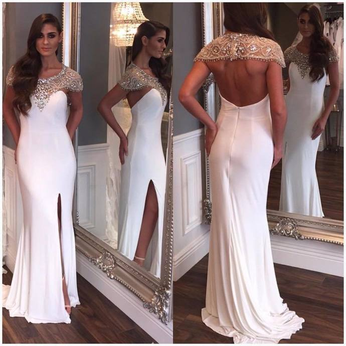 Charming Mermaid Evening Dress,White Prom Dress,Long Sleeves Party Dress,Sexy