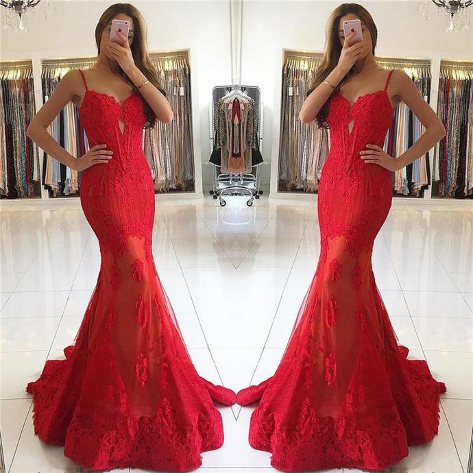 Long Prom Dress,formal spaghetti straps mermaid red long dress, long sexy Prom