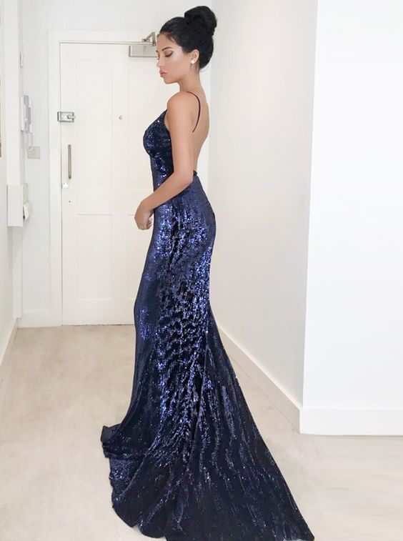 Mermaid Spaghetti Straps Backless Dark Blue Sequined Prom Dress T4700