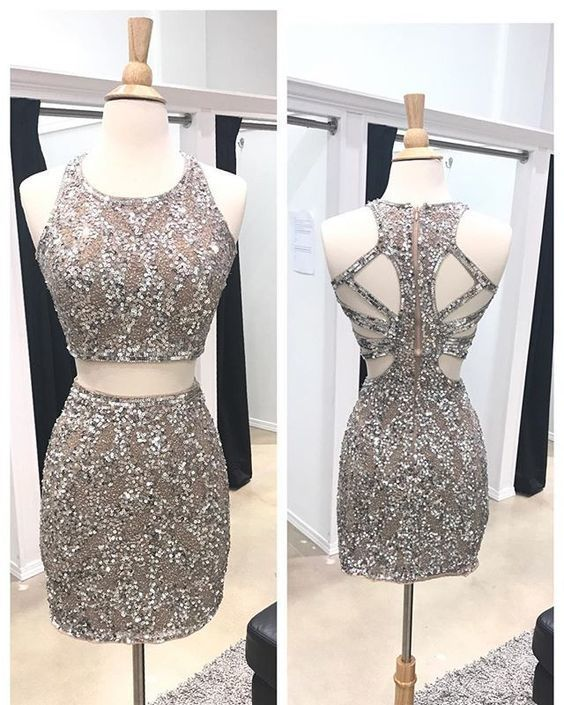 Two piece homecoming dresses, Beaded homecoming dresses, Sheath homecoming