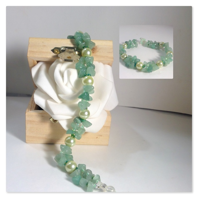 Germstone Jewelry Aventurine handmade pearl bracelet Free Matching Earrings
