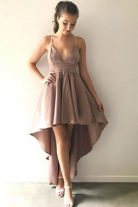 High Low Homecoming Dress, Spaghetti Strap Prom Dresses, A Line Sexy Graduation