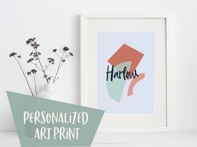 Personalized abstract print, geometric print, shapes print, modern print,