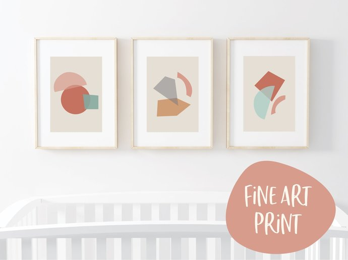 Abstract print set, geometric print set, shapes print set, wall art, nursery
