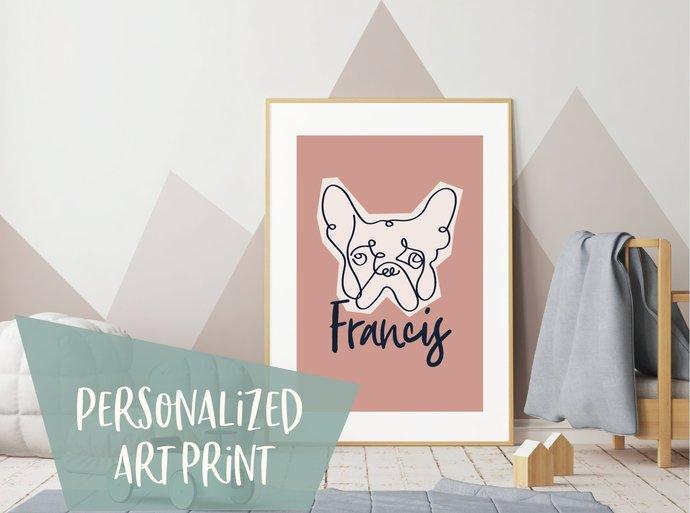 Personalized Line art french bulldog print, custom name dog print, customized