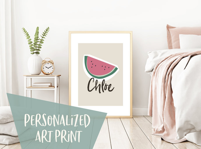Personalized watermelon print, kitchen print, custom name tropical summer art